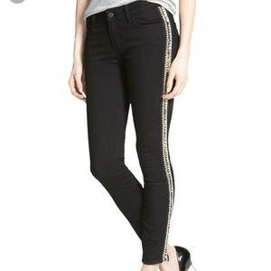 Paige Verdugo Beaded Tuxedo Stripe Black Jeans